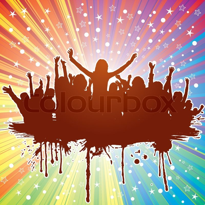 Party Theme With Dancing Silhouettes On Abstract Background Element