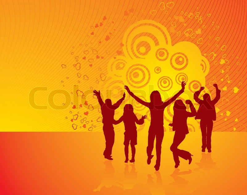 Silhouette Dance Music Abstract Background: Vector Silhouettes Dancing Man And ...