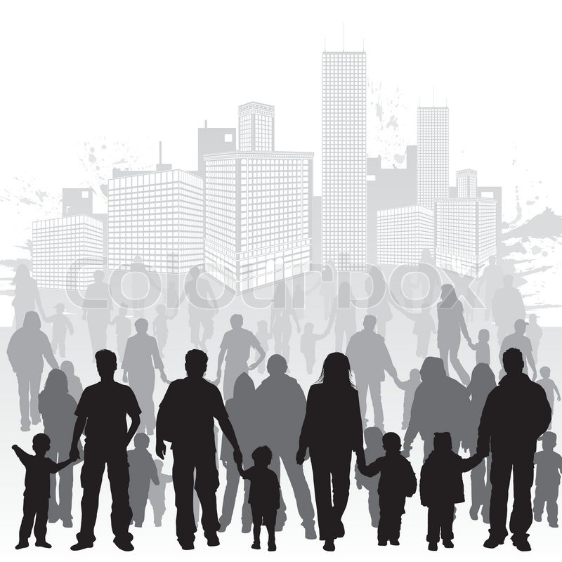 big collect vector silhouettes of parents with children on