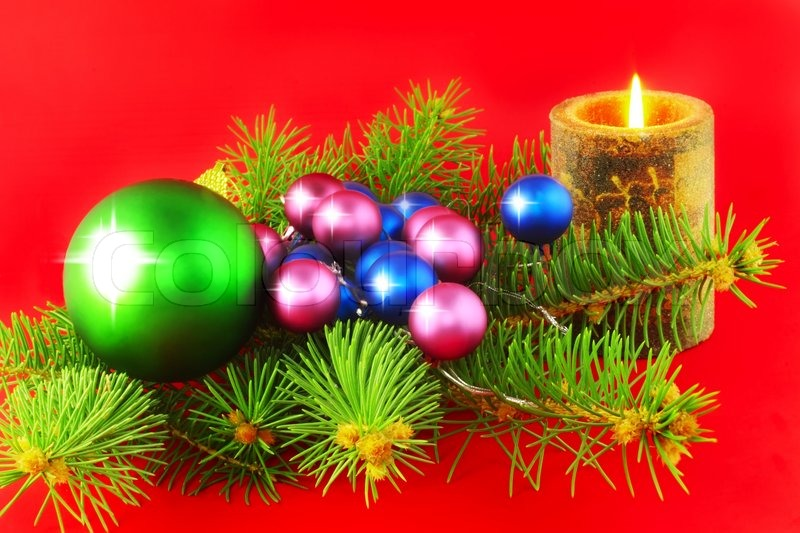 Weihnachten Und Silvester Dekoration Kugeln Und Kerzen
