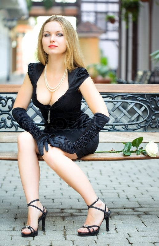 Beauty Sexy Woman In Black Dress On City Of Europe  Stock -9114