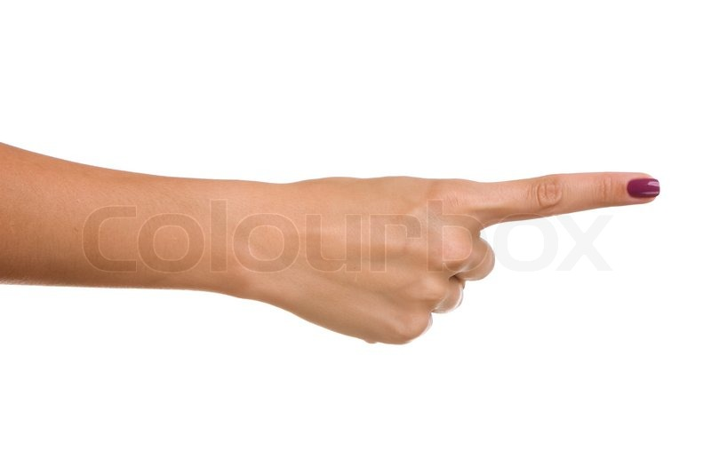 Finger pointing right, isolated on white | Stock Photo ...