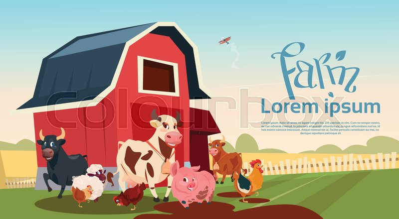 Farm Breeding Animals Farmland Background Flat Vector Illustration