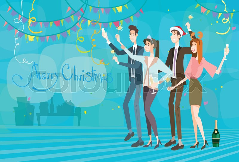 cd827762bc18b Stock vector of  Businesspeople Celebrate Merry Christmas And Happy New  Year Business People Team Santa