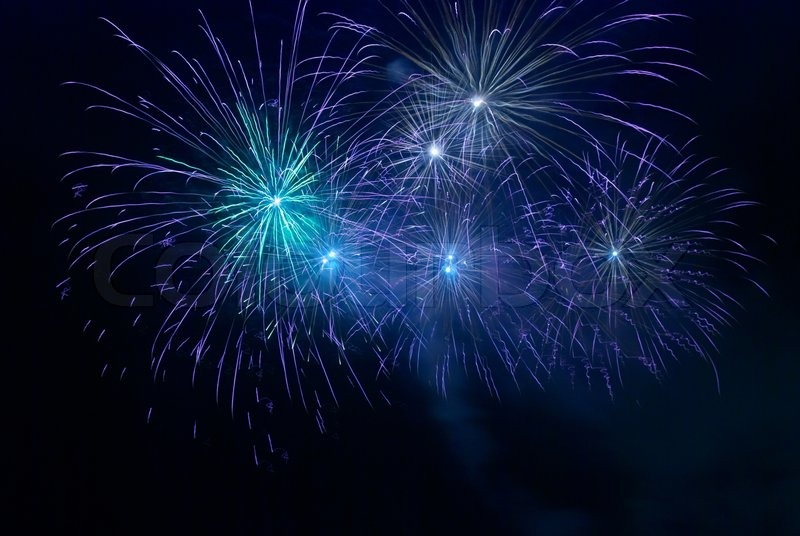 Wallpaper Salute Sky Holiday Colorful 3376x4220: Blue Fireworks On The Black Sky Background
