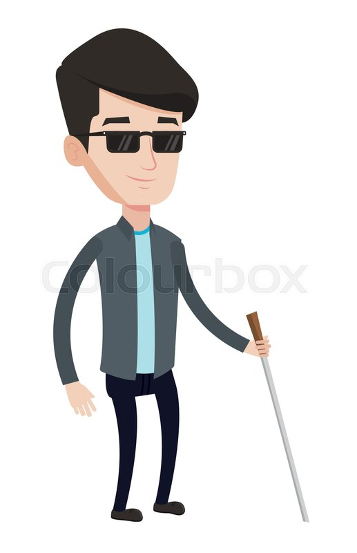 caucasian blind man standing with walking stick young glasses vector freepik sunglasses vector