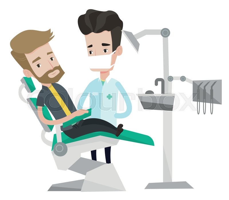 Young Hipster Man Sitting At The Chair Dental Office Doctor And Patient In Clinic On Reception Dentist