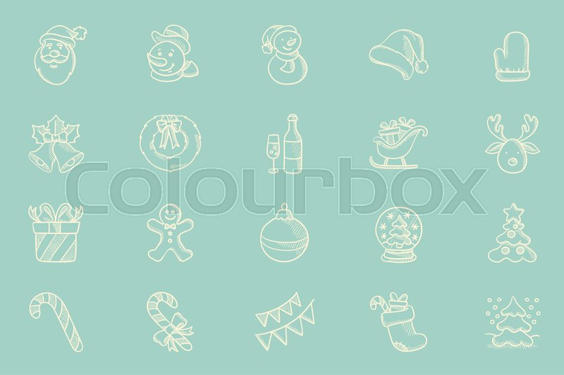 Set of decorative sketch icons for christmas greeting cards hand set of decorative sketch icons for christmas greeting cards hand drawn christmas sketch icon set vector sketch icons isolated on light blue background m4hsunfo