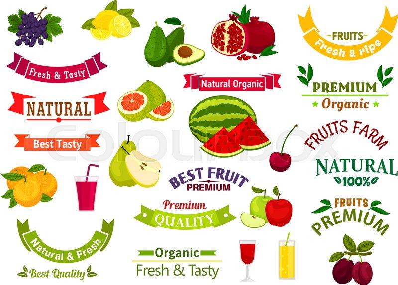 fresh fruit emblems  ribbons  labels for juice  jam product sticker design  premium exotic