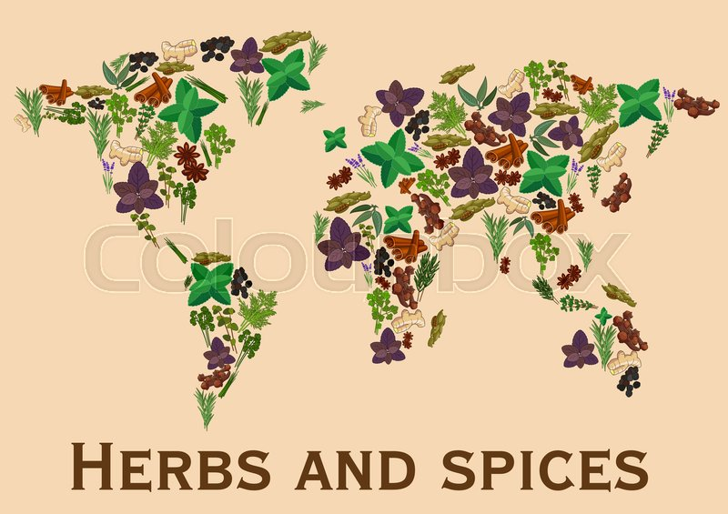 Herbs and spices flat icons in world map shape continents map of stock vector of herbs and spices flat icons in world map shape continents map gumiabroncs Images