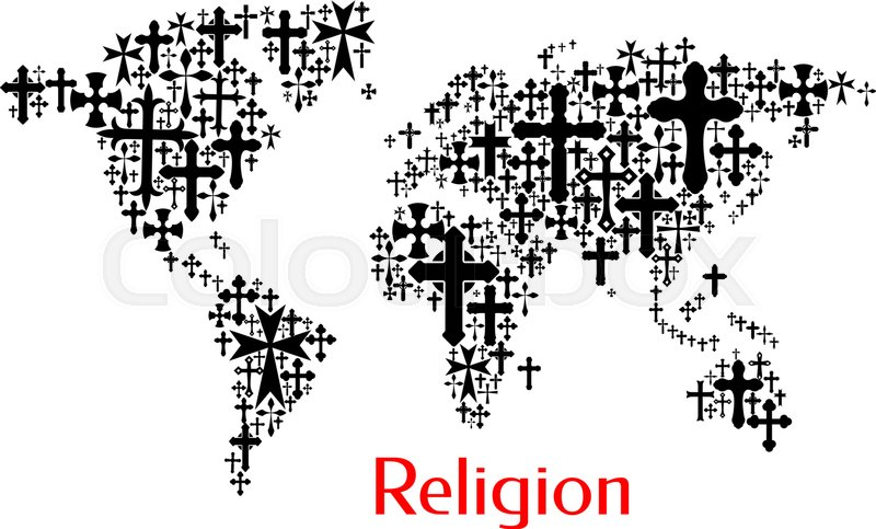 World Map Design Of Crucifix Cross Pattern Religion Conceptual
