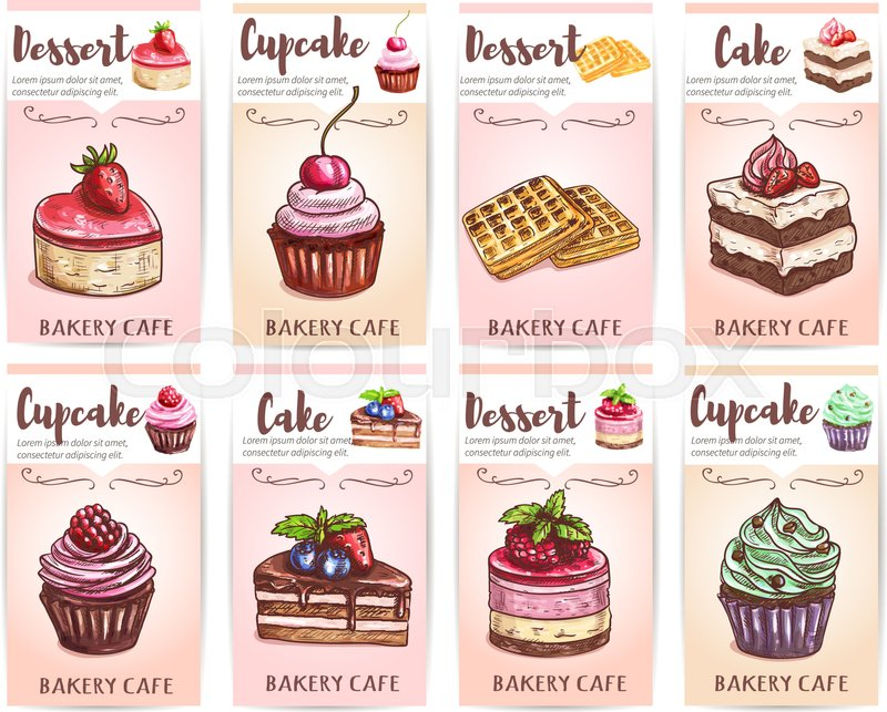 Cafe, cafeteria, patisserie desserts menu. Sketch icons of ...