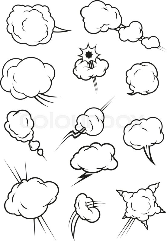 Cartoon Cloud Icons In Comic Book Style Isolated Cumulus Outline