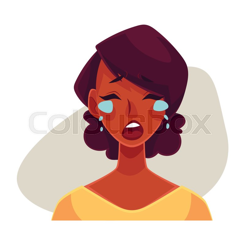 pretty african girl crying facial expression cartoon