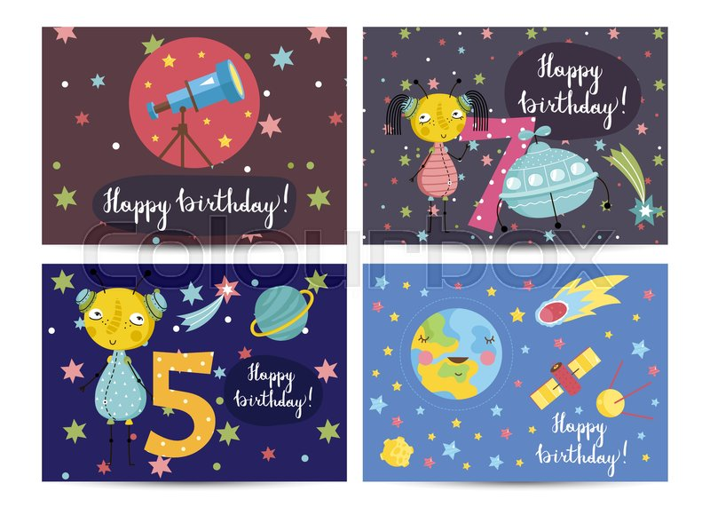 Happy Birthday Cartoon Greeting Cards On Space Theme Telescope