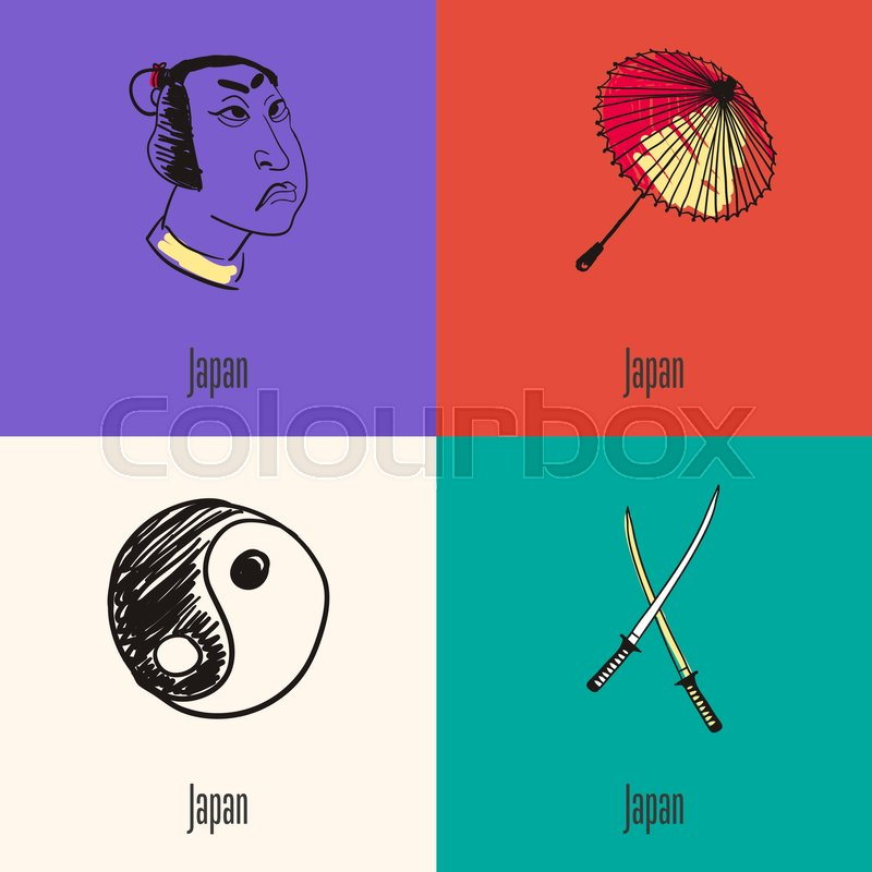Japanese National Symbols Samurai Face Paper Umbrella Yin Yang
