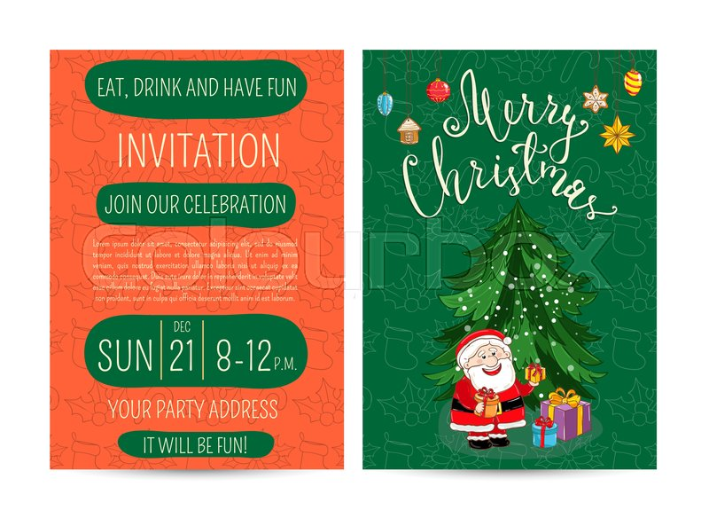 Invitation on christmas party with date and time cute santa stock vector of invitation on christmas party with date and time cute santa m4hsunfo