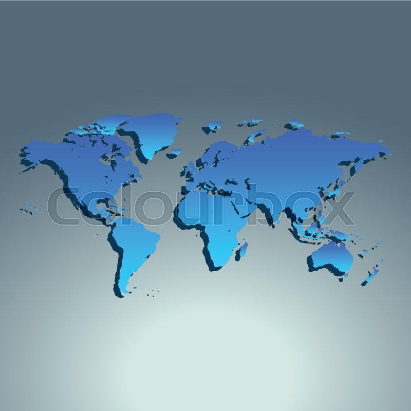 Stock vector of 'World map blue color. Flat design. Vector illustration'