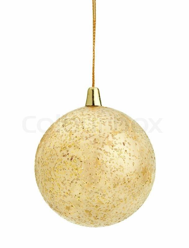 Christmas Gold Ball Isolated On White Background Stock