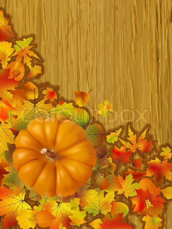 Fall Leaves With Orange Gourd On Brown Background Fall