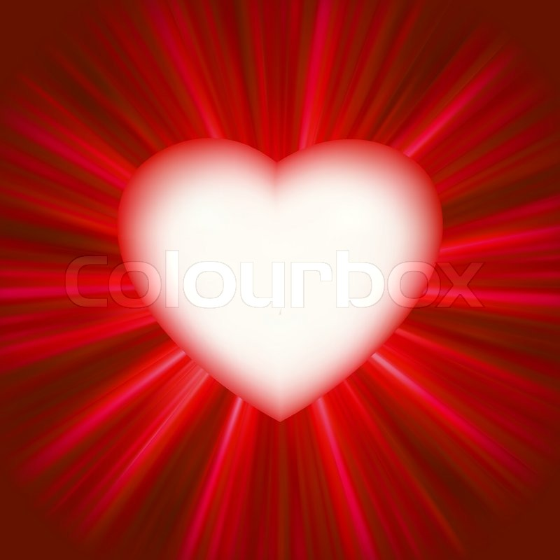 Valentine Gloss Heart With Shiny Glowing Rays Background