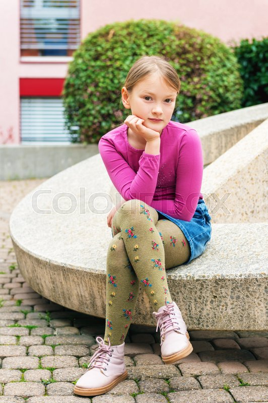 Fashion Portrait Of A Cute Little Girl In A City, Wearing -9790