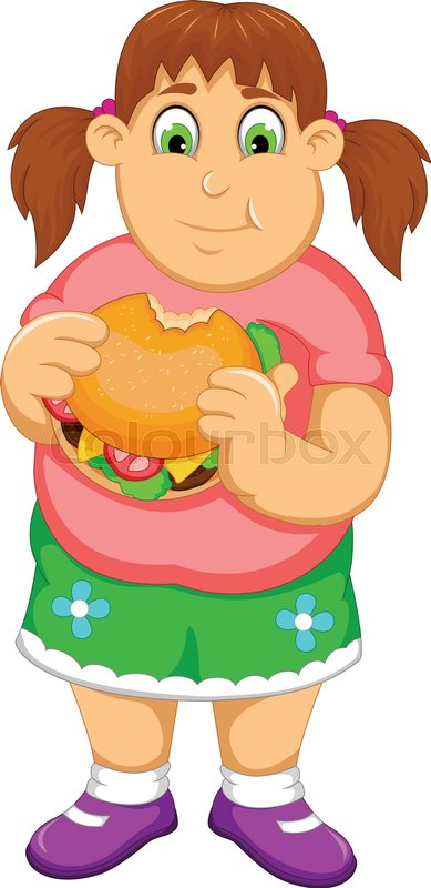 Vector Illustration Of Funny Fat Woman Cartoon Eating