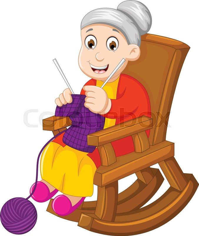 Vector illustration of funny grandmother cartoon knitting