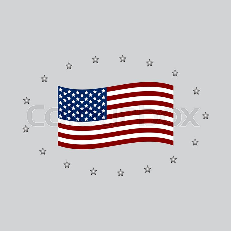 Honoring all who served banner for memorial day. American flag on gray, vector