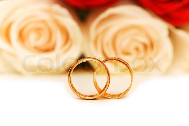 Hochzeit Konzept Mit Rosen Und Goldene Stockfoto Colourbox