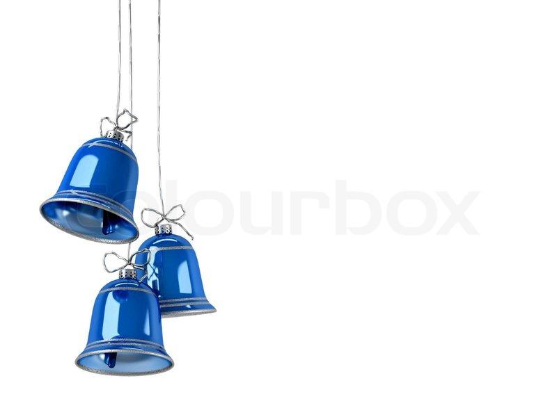 Drei blaue Weihnachten Hand Glocken auf einem weißen ...