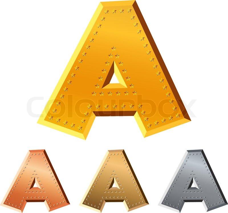 Reihe von Gold-, Silber -, Kupfer -, Bronze- Buchstaben A verziert ...