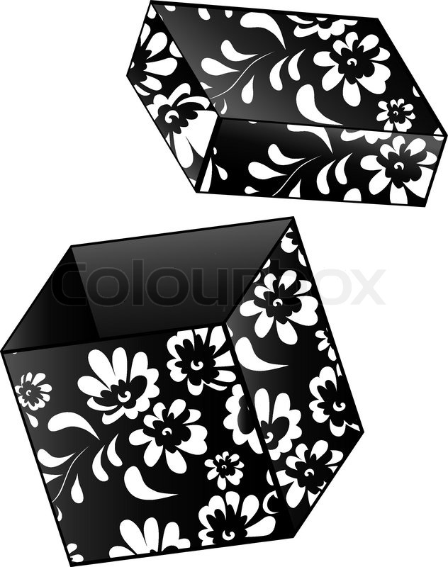 ge ffnet jahrgang geschenk box mit blumendekor in schwarz und wei vektorgrafik colourbox. Black Bedroom Furniture Sets. Home Design Ideas