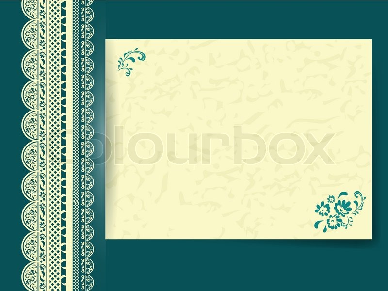 Lace Frame With Floral Decorated Paper At Dark Turquoise Colour Background