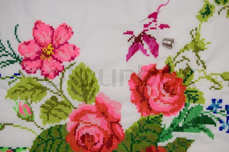 image of roses and other flowers on scenery stock photo colourbox