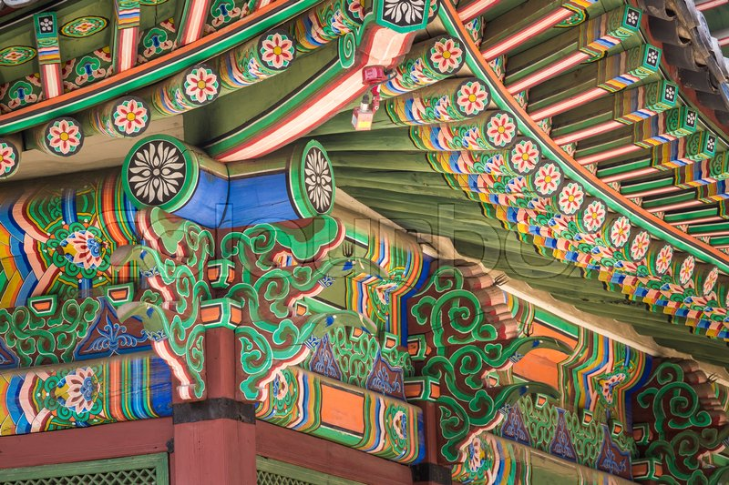 Detail Of Traditional Korean Roof Colourful Decorated
