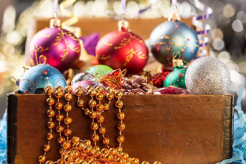 Christmas and new years holidays decorations with glitter background, stock photo