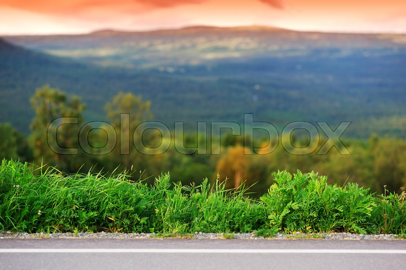 Horizontal Mountain Road With Grass Border Background Hd