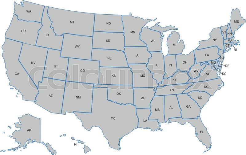 Usa Kort Med Amerikanske Stater Stock Vektor Colourbox