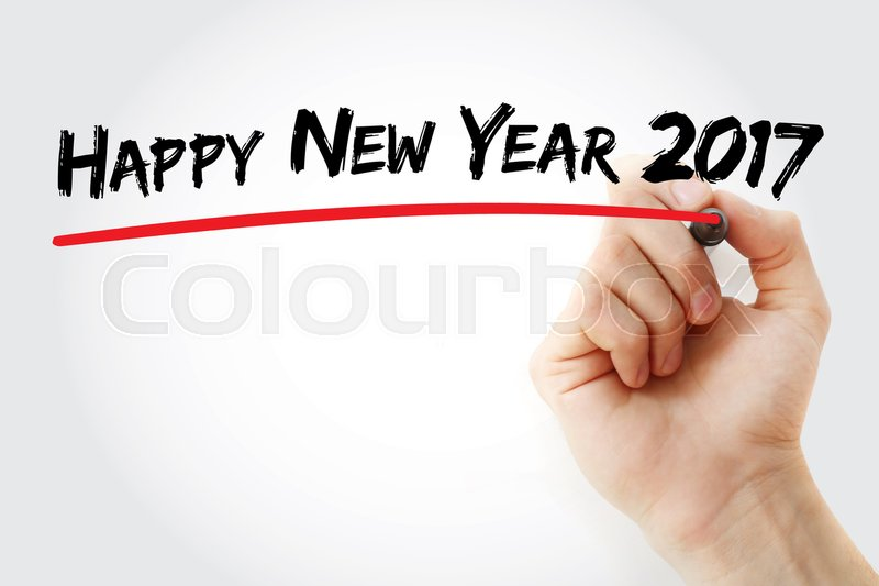 Stock image of 'Hand writing Happy new year 2017 with marker, concept background'