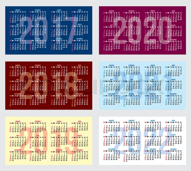 Vector set of calendar grids for years 2017 2022 for business cards vector set of calendar grids for years 2017 2022 for business cards stock vector colourbox colourmoves