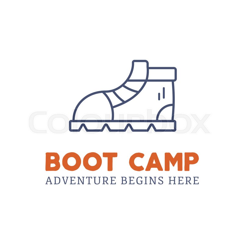 Camping Adventure Logo Design With Boot And Typography Elements