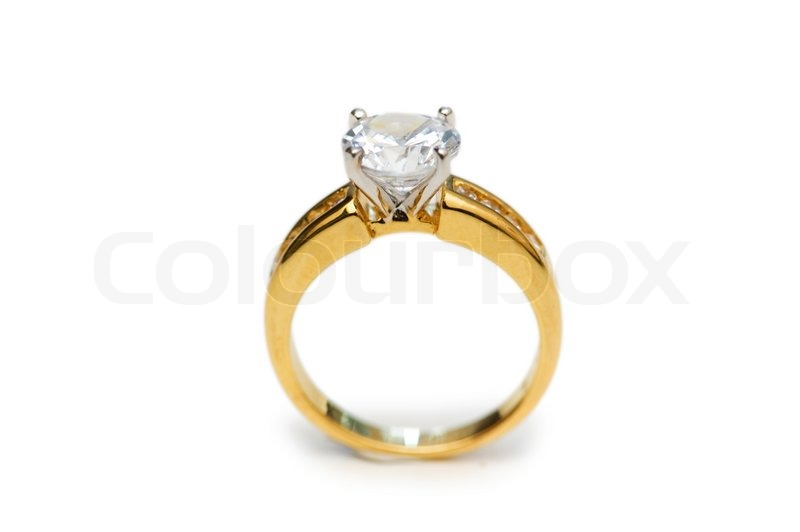 Golden Ring With Diamond Isolated On The White Stock Photo Colourbox