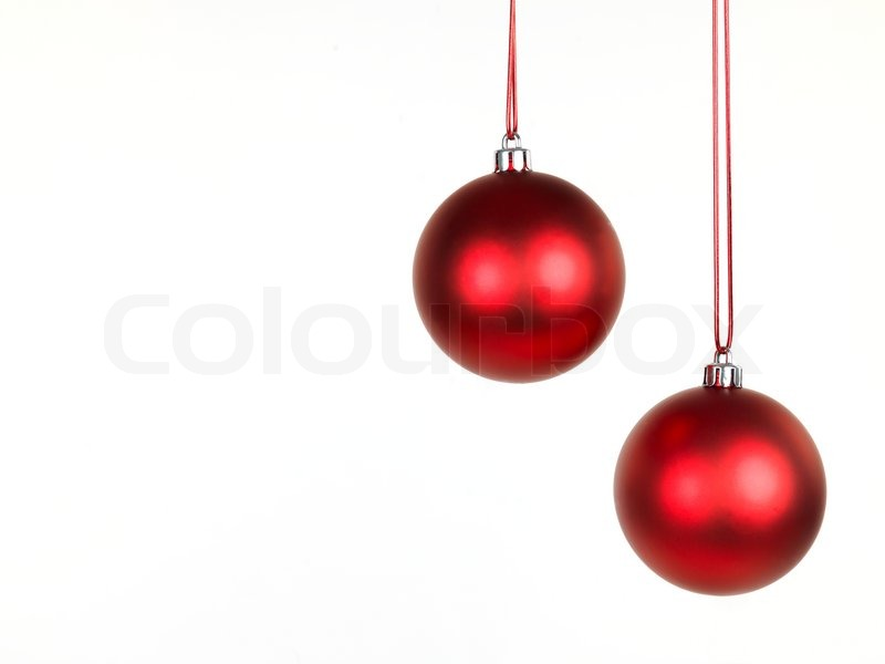 Hanging Christmas ornaments isolated against a white background ...
