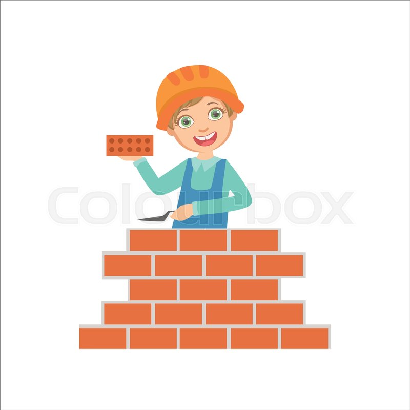 Boy Building A Brick Wall Kid Dressed As Builder On The Construction Site Future Dream Profession Set Illustration Teenager In Worker Uniform