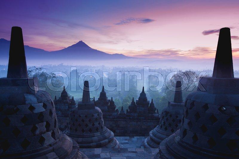 Borobudur Temple is sunrise, Yogyakarta, Java, Indonesia, stock photo