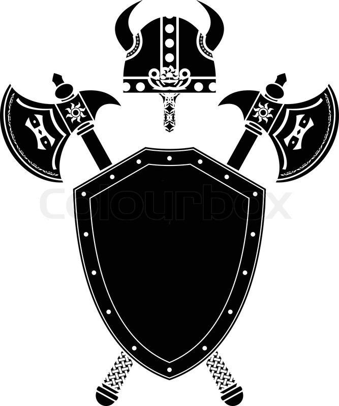 Shield Axes And Viking Helmet Stencil Stock Vector