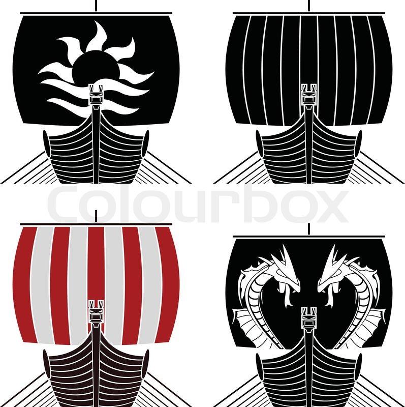 Viking ships. stencil | Stock Vector | Colourbox