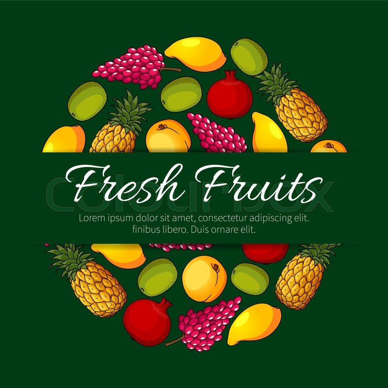 Fresh fruits product sticker label vector round emblem for Apple design book