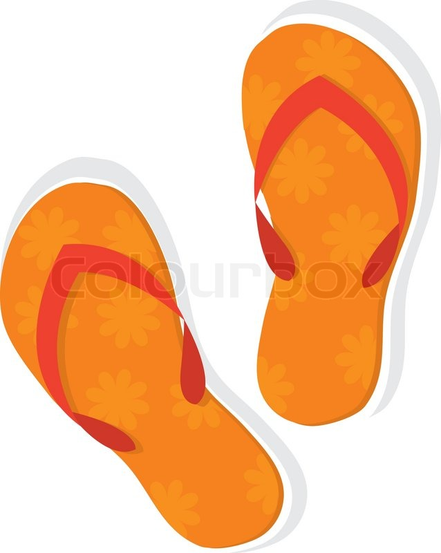 35ac67c43 Orange slippers with floral pattern ... | Stock vector | Colourbox